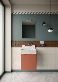 Marcante Testa brings colour and geometry to the bathroom for Ex.t Marcante Testa designs Frieze bathroom basins for Ex. Bathroom Basin, Small Bathroom, Dream Bathrooms, Modern Bathroom, Colorful Bathroom, Copper Bathroom, Boho Bathroom, Industrial Bathroom, Glass Bathroom