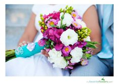 Pink,white,green and turquoise bridal bouquet