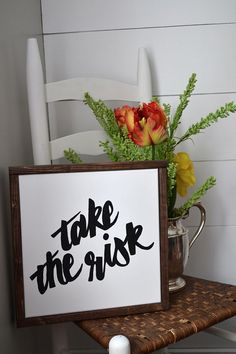 take the risk handpainted canvas sign with wood by blissfulpickens
