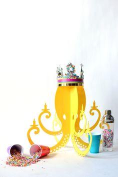 Yellow Acrylic Octopus Chandelier