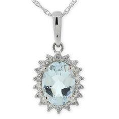 Aquamarine & Diamond Pendant 14K White Gold - something blue...just happens to be my birthstone. <3