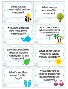 Summertime Trivia Questions & Games {for kids of all ages} 40 questions and a fun summer game board!
