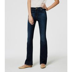 LOFT Petite Modern Boot Cut Jeans in Pure Dark Indigo ($70) ❤ liked on Polyvore featuring jeans, pure dark indigo wash, slim fit bootcut jeans, mid rise straight leg jeans, denim jeans, loft jeans and slim fit jeans