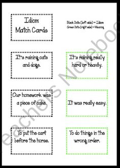 54 Idiom Match Cards product from Life-on-the-Fourth-Floor on TeachersNotebook.com