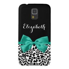 Leopard Print Emerald Green Ribbon Bow Chic Name Galaxy S5 Case Personalize by adding the name of any girly girl to this trendy black and white leopard print Barely There Samsung Galaxy S5 Case with a girly emerald green ribbon tied into a cute bow. This stylish animal print design is a flat printed image, and does not contain actual ribbon. #chic #animal #print #trendy #stylish #leopard #print #name #emerald #green #bow #emerald #green #ribbon #emerald #green #personalized...