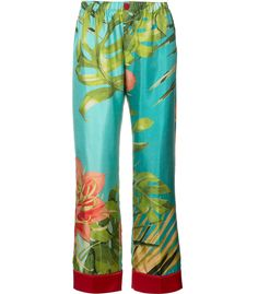 s For Restless Sleepers Tropical Print Silk Trousers In Multi Blue Trousers, Printed Trousers, Blue Pants, Trousers Women, Studio 54 Style, For Restless Sleepers, Colored Pants, Patterned Pants, Pants Pattern