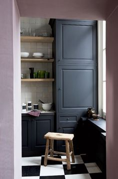 Grey cabinets, exposed timber shelving, white tiles. lovely. Mauve would be hard to get past hubby!