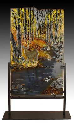 Be aware of your surroundings before you take a sip. Fused Glass, Stained Glass, Art Studios, Glass Art, Landscapes, Art Gallery, Trees, Interior Design, Painting
