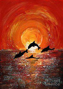 Dolphins jumping in gorgeous golden sunlight. Prophetic Painting - Harmony by Karen Jane Jones