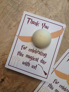 Harry Potter baby shower EOS lip balm favor card thank you