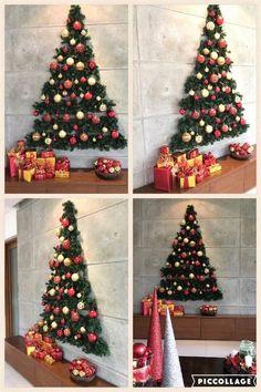 Wall Christmas Tree, Outside Christmas Decorations, Modern Christmas Decor, Unique Christmas Trees, Easy Christmas Crafts, Simple Christmas, Office Christmas, Christmas Ideas, Cheap Christmas