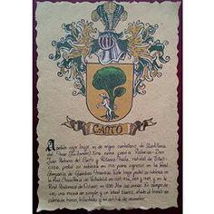Pergamino con escudo del apellido, heráldica