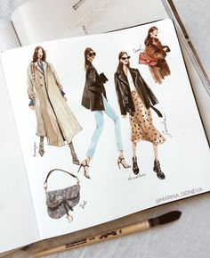 skizzen zeichnen – Keep up with the times. Fashion Design Sketchbook, Fashion Design Portfolio, Fashion Design Drawings, Art Sketchbook, Illustration Mode, Fashion Illustration Sketches, Fashion Sketches, School Fashion, Fashion Art