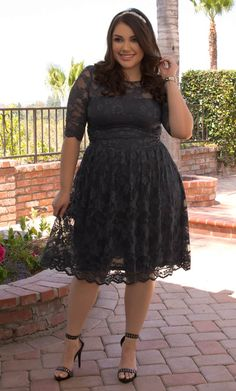 Step out of the norm and show off your curves in grey lace, like our plus size Luna Lace Dress.  See our entire made in the USA plus size collection online at www.kiyonna.com.  #KiyonnaPlusYou