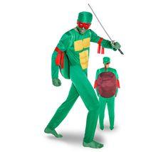 DisfracesMimo, disfraz de tortuga ninja hombre varias tallas. Clásico para adulto este carnaval. Conviértete en un guerrero verde y lucha con tus compañeros contra Despedazador.Este disfraz es ideal para tus fiestas temáticas de disfraces de animales para hombre adultos.