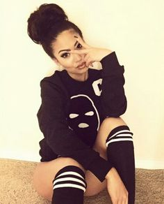 High knee socks, baggy black long sleeve, baddie  @Alesemonique