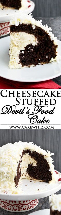 This rich and creamy CHEESECAKE STUFFED DEVIL'S FOOD CAKE is worth all the calories! Easy to make with a cake mix and topped off with a pudding frosting and shredded coconut. (Ad) From cakewhiz.com