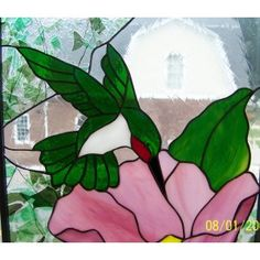 Stained Glass Hummingbird and Flower Panel Window