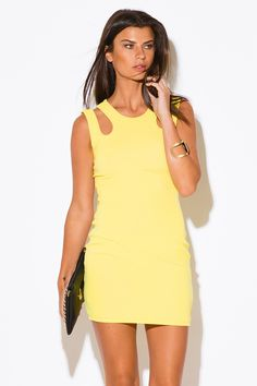 NOW AND FOREVER | yellow cut out cold shoulder clubbing fitted party mini dress - 1015store.com