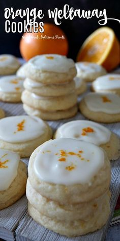 """Orange Meltaway Cookies are """"melt-in-your-mouth"""" delicious, soft and chewy and a family favorite cookie recipe. Meltaway Cookies are """"melt-in-your-mouth"""" delicious, soft and chewy and a family favorite cookie recipe. Köstliche Desserts, Delicious Desserts, Dessert Recipes, Yummy Food, Cookie Time, Holiday Baking, Christmas Baking, Fall Baking, Orange Recipes"""