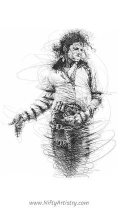 Yup~ it's him =) Michael Jackson Michael Jackson Dibujo, Michael Jackson Tattoo, Michael Jackson Drawings, Michael Jackson Poster, Portrait Sketches, Pencil Portrait, Art Sketches, Arte Ninja, Scribble Art