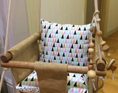 Handmade Burlap (Hessian) Baby Swing, Toddler Swing, Kids Swing, Hanging Chair with Wood Bead Toy