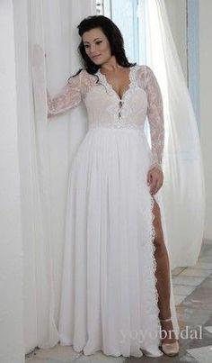 Sexy Splits V Neck Plus Size Wedding Dress Beach Summer Style Long Illusion Sleeves Lace Chiffon Beaded…
