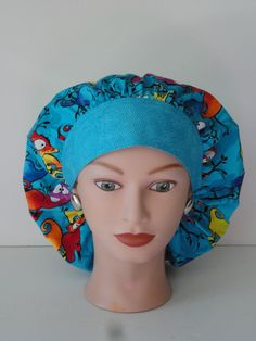 The Perfect Sized Bouffant Scrub Cap...Colorful Lizards by TwoSew
