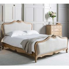 Weathered Mahogany Upholstered Bed | Frank Hudson