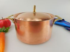 Paul Revere Ware Signature Limited Edition - 3 Quart Covered Casserole Pot Lid - Copper Stainless Brass Vintage Cookware