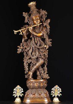 "View the Brass Ornate Gopal Krishna Statue 30"" at Hindu Gods"