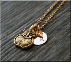 Gold Apple Charm Necklace Initial Charm by charmingpixiejewelry