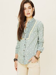 Free People Printed Chambray Buttondown at Free People Clothing Boutique. $128