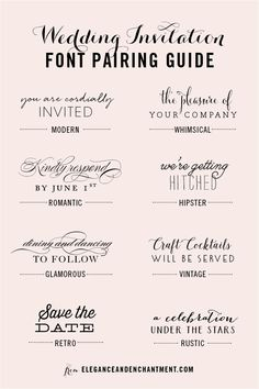 Wedding Invitation Font and Pairing Guide from Elegance and Enchantment // Great combinations of script and serif/sans serif typography for any style! fonts and calligraphy Wedding Invitation Font Pairing Guide Create Wedding Invitations, Wedding Invitation Fonts, Vintage Wedding Invitations, Rustic Invitations, Wedding Stationary, Wedding Fonts Free, Party Invitations, Typography Wedding Invitations, Wedding Invitation Design Ideas
