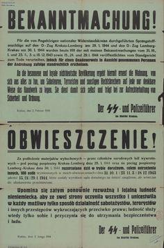 Rozstrzelani w odwecie- obwieszczenie o rozstrzelaniu stu osób w odwecie za wysadzenie pociągu Kraków-Lwów. 2.02.1944.