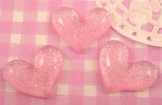 These sparkly glitter baby pink hearts are extra cute, #kawaii style #cabochons that are absolutely perfect for all kinds of #craft projects, including decoden. #Jewelry