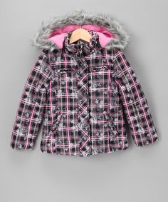 Take a look at this Black Floral Plaid Bubble Coat - Girls by Dollhouse on #zulily today!