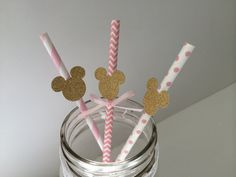 20+Gold+Mickey+or+Minnie+Mouse+Paper+on+Pink+by+PaperTrailbyLauraB,+$25.00