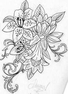 tatto flower drawings | Flower Tattoos: Flower Commish | Flower Tattoo