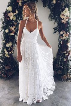 White v neck lace long prom dress, white evening dress wedding dress charming bridal dresses dream wedding dress Perfect Wedding, Dream Wedding, Beach Wedding Gowns, Bridal Gowns, Coral Beach Weddings, Lace Weddings, Bridal Shower Dresses, Wedding At Home, White Bridal Shower Dress