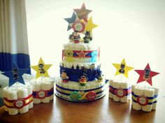 Superhero diaper cake and center pieces for the bestfriend's baby shower