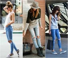 Look, calça jeans rasgada