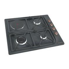 ROSIERES - RTT631SAVF _ Table de cuisson Mixte - 1 foyer rapide 2,7 kW - Allumage intégré aux manettes - Sécurité gaz par thermocouple - Robinets gaz à réglage progressif - Grilles en fonte émaillée.