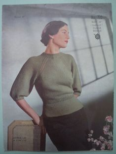 Vintage Knitting Pattern Womens Sweater Jumper raglan sleeves - original pattern Vintage knitting pattern - womens sweater / jumper with raglan sleeves Published by George Lee & Sons Ltd (Wakefield, England, UK) - No. Jumper Knitting Pattern, Easy Knitting, Knitting Patterns Free, Crochet Patterns, Jumpers For Women, Sweaters For Women, Boucle Yarn, Do It Yourself Fashion, Vintage Knitting