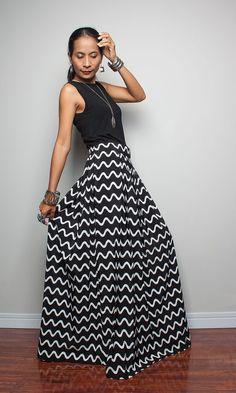 Floor Length Skirt  Black and White Maxi Skirt  Feel by Nuichan, $55.00