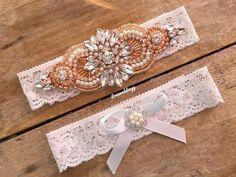 Pearl gold garter set plus size garters crystal garter