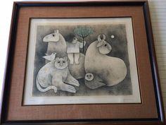"""Carol Jablonsky """"Kingdom with Minerva"""" Numbered & Signed Etching Print, Framed #Modern"""