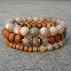 Sunstone and sandalwood mala bracelet stack. #sunstone #mothersday