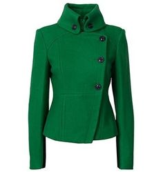 Green wool fitted blazer with high collar. Different color, but LOVE this structured look.