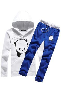 Panda Print Hooded Set